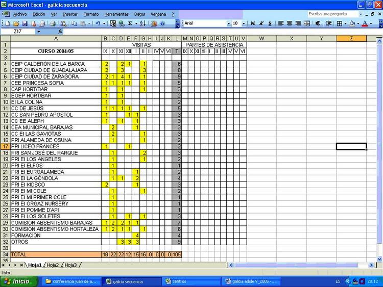 La hoja de cálculo en la tarea cotidiana del Inspector de Educación ...